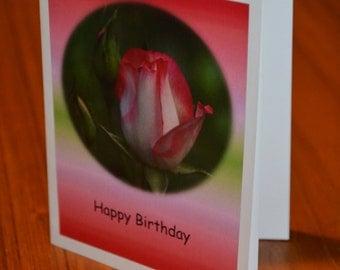 pink rosebud birthday card
