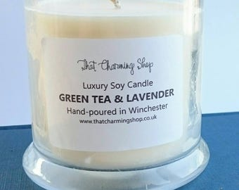 SALE - Green Tea Lavender Candle - Green Tea Lavender Scented Candle - Green Tea Lavender Soy Candle - Green Tea Candle - Lavender Candle