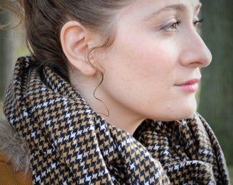 Brown/White/Black Houndstooth Flannel Infinity Scarf