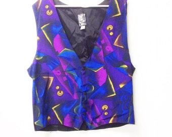 80's ABstract rockstar vest,funky groovy