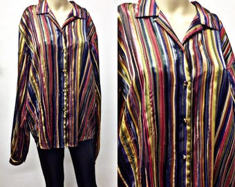 80's 90's SHINNY,gold threaded,oversized, Long polyester button down blouse