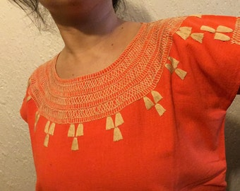 Traditional Mexican orange blouse cadenilla-embroidered