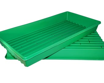 Made in the USA 1020 Green Heavy Duty Growing Trays, for wheatgrass, microgreens (With Drain Holes)