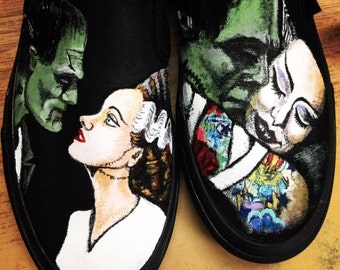 Custom painted shoes of Frankenstein and his Bride.