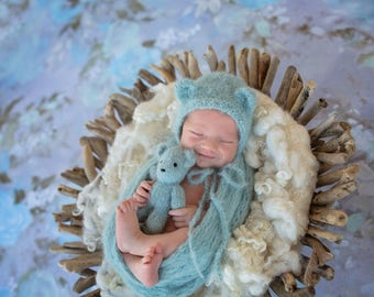New Born Teddy hat and Wrap set, Layering blanket, baby wrap, wraps, Photography props,