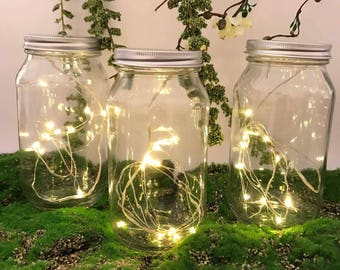 Glass Jar with 1 Set WARM WHITE Fairy Lights/SEED Led Lights
