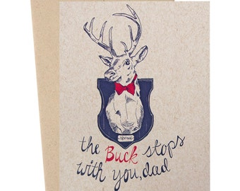 Dad's Buck, Father's Day Buck, Father's Day Card, Hunting Card, Father's Day Hunting, Preppy Buck Card, Deer Card, Animal Card, Woodland