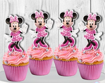Minnie Mouse Cupcake Toppers, Minnie Mouse Cupcake Picks, INSTANT DOWNLOAD, You Print