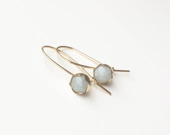 Aquamarine 14 carat goldfilled/gold filled earrings/earrings