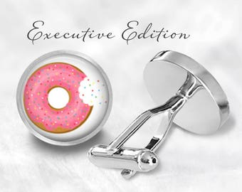 Sprinkled Donut Cufflinks - Donut Cuff Links - Pink Donut Cuff Links (Pair) Lifetime Guarantee (S0700)