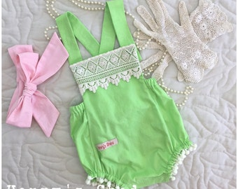 Romper, baby girl, overall, lime green