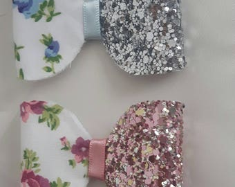 Set of two floral glitter hair bows - pink and blue
