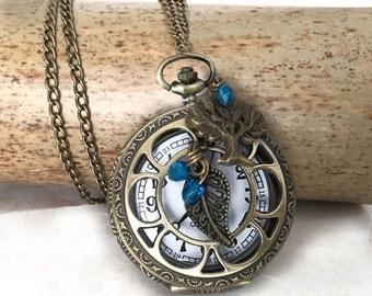 pocket watch necklace ancient spirit star blue crystal beads.