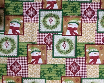 Christmas Snowman Patch Fabric by Holiday Inspirations Christmas Fabric Quilters Pre-Cut 1 Yard