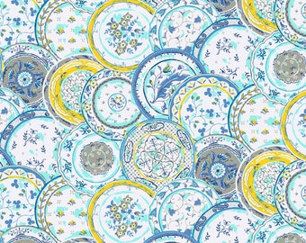 Printed Plates Lagoon Quilting Cotton Fabric by Waverly Inspirations Fabric by the Yard