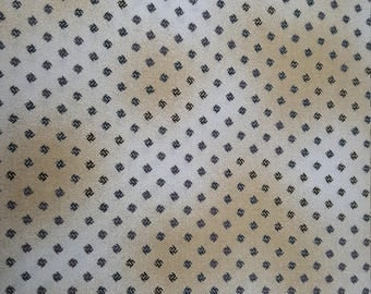 Tiny Black Motif on Cream Cotton Calico Fabric by the Yard