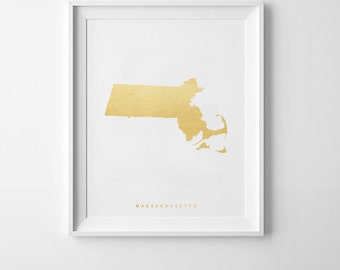 Machusetts Gold Map Print Us State Poster State Map Print Printable Map