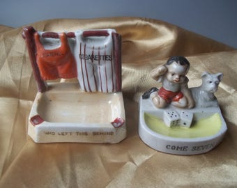 Porcelain Figurine Match Cigarette Holder Ashtray With Striker Made In Japan FREE SHIPPING