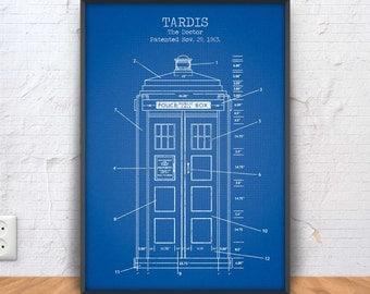 TARDIS poster, tardis printable, tardis blueprint, tardis patent print, sci fi decor, doctor who illustration, movie printable, bbc, #1327