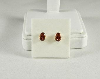 Hessonite Garnet 1.85 TCW 7 x 5 MM Oval Sterling Silver Stud Earrings