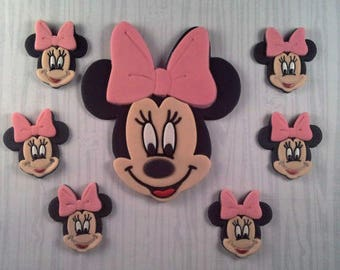 Minnie Mouse cake topper & 6 cupcake topper set