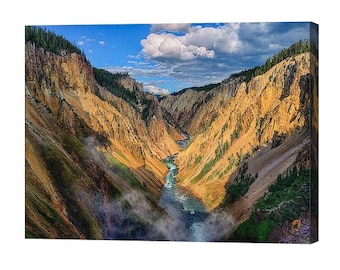 Yellowstone National Park Canyon View Stretched Canvas Print, Modern Wall Art Featuring Fine Art Nature Photography From Yellowstone