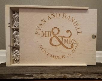 Mr. & Mrs. Three Compartment Anniversary Wine Box