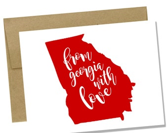 Customizable From Georgia With Love Notecard Set of 12 - Georgia Note Card Set - Stationary Set