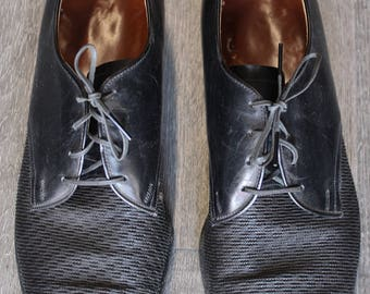 Vintage Black Men's Lace-Up Loafer Shoes