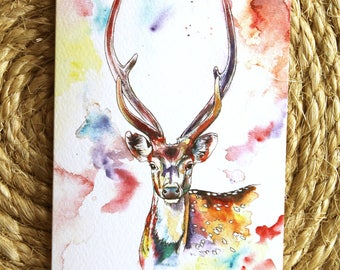 Watercolour Colourful Stag Print Greetings Card