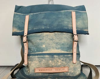 Recycled canvas backpack, faded blue and sand