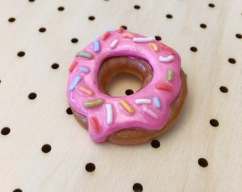 Hurtz Donut Resin Doughnut Brooch in Pink Frosting Sprinkles