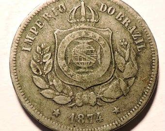 1874 Brazil 100 Reis Coin
