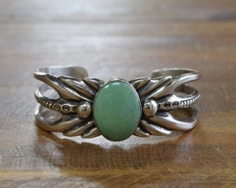 Vintage Navajo Turquoise Sterling Silver Sandcast Cuff Bracelet