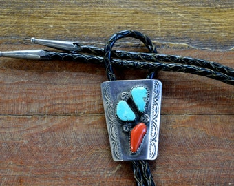 Vintage Navajo Turquoise and Coral Sterling Silver Bolo Tie