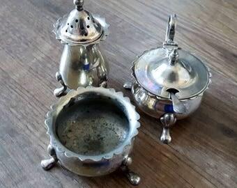 Vintage E.P.N.S Salt, Pepper and Mustard cruet set
