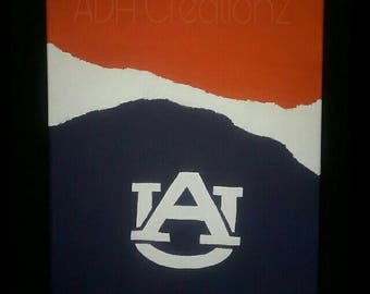 NCAA Auburn and Alabama Abstract Canvas Painting