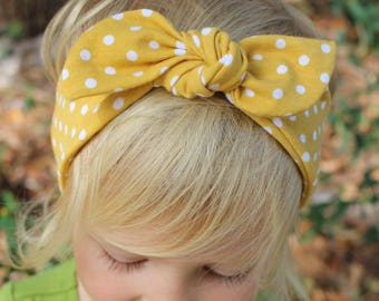 mustard polka dot top knot headband