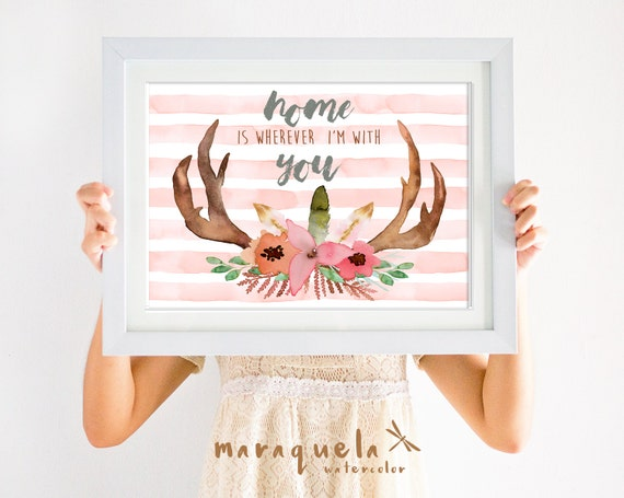 WATERCOLOR ANTLERS deer head,animal skull wall art,tribal boho wall,flowers art,tribal nursery art,woman decor,home is wherever I'm with you
