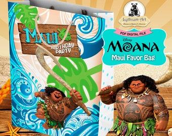 Moana Maui Favor Bag - Moana Maui Birthday Party - Instant Download - Printable Party Bag - Treat Bag - Maui Printables - Moana Party Decor