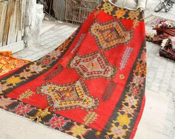 Rare Antique Cr1900-1939s Armenian Nagorno-Karabakh6'1''x11'1''Flat Woven Kilim