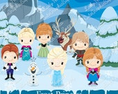 NEW Frost princess, frozen inspired clipart, frozen clip art, princess clipart, princess clip art, disney clipart, elsa clipart -LN0146-