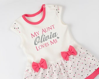 Aunt baby clothes auntie aunt shirts i love my aunt baby gift aunt and niece my aunt loves me personalized baby girl outfit gift for niece negle Image collections
