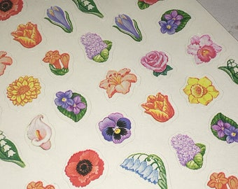 Hallmark Ambassador Vintage Floral Flowers Stickers Pansy Roses Sunflower Calla Lily Hydrangea