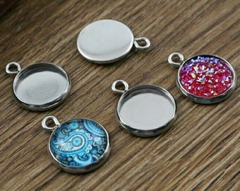 10pcs 12mm Stainless Steel High Quality Cabochon Pendant Charm Settings Cabochons Blanks DIY Jewelry Supply
