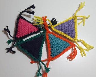 Triangle (Amigurumi Cat Toy made from Acrylic Yarn, Fiber Fill, and your choice of Color, Organic Catnip and a Rattler)