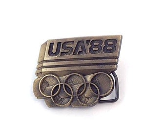 Vintage USA 1988 Olympic Symbol Brass Metal Belt Buckle