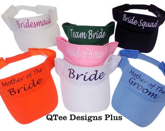Bachelorette Party Visors, Personalized bachelorette party hats, Custom bridal party visors, Personalized adjustable bridesmaid hats