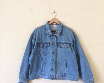 Vintage 80s/90s Denim Embroidered Jacket - handmade, Seruchi brand, bedazzled