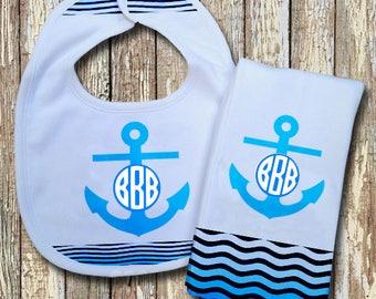 Anchor Monogrammed Baby Bib with matching Burp Cloth Set (Blue)